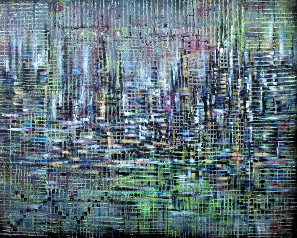 """""""Reflection of a City Life,large cityscape painting on canvas"""" original fine art by Khrystyna Kozyuk"""