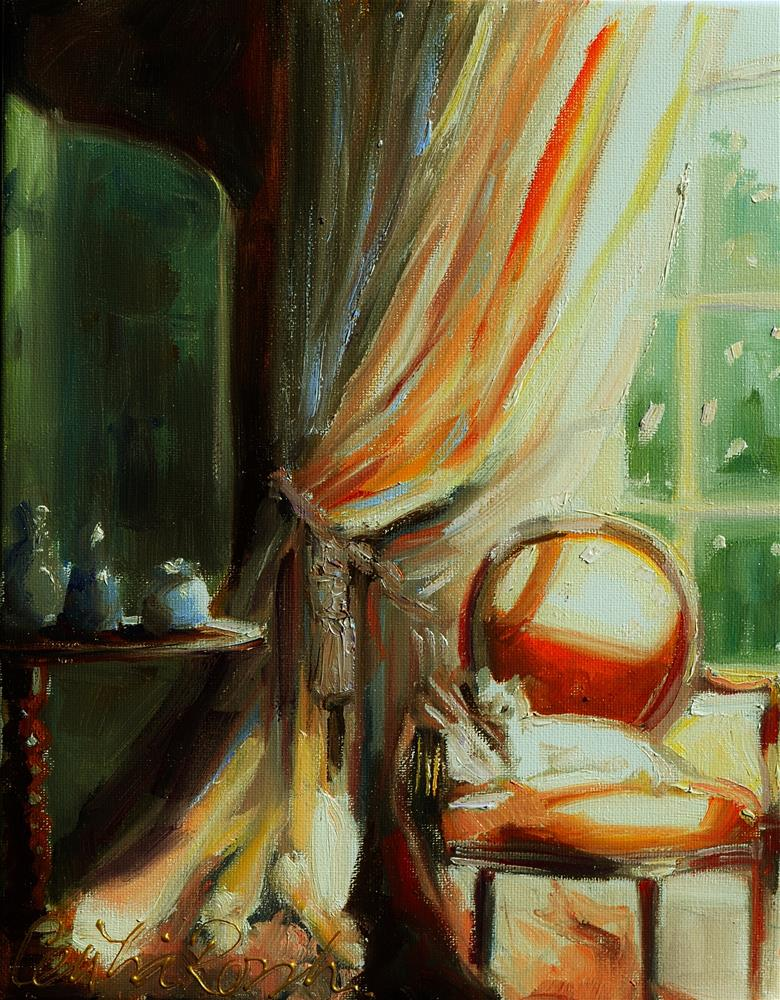 """""""AT THE WINDOW"""" original fine art by Cecilia Rosslee"""
