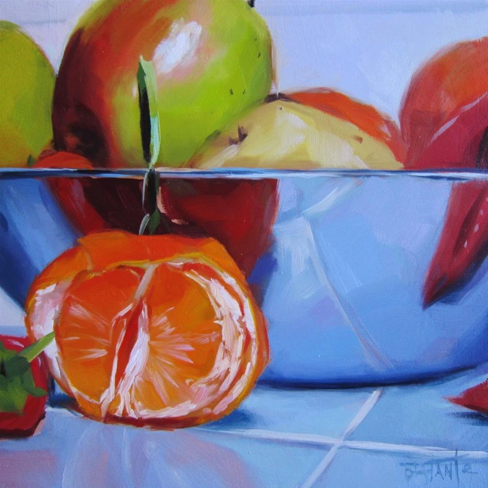 """Bowl with tangerine"" original fine art by Víctor Tristante"