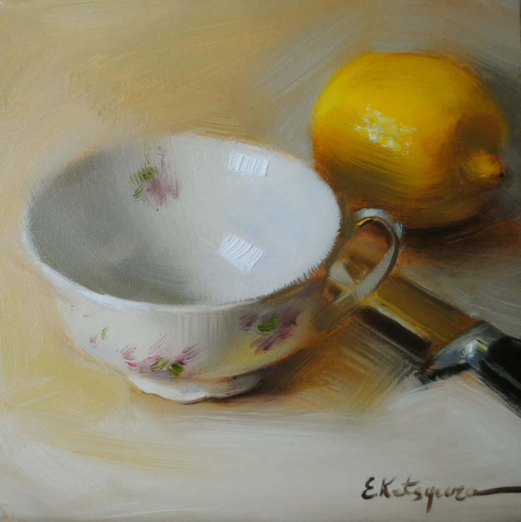 """Lemon Teacup"" original fine art by Elena Katsyura"
