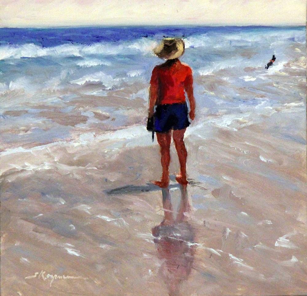"""Cooper Off Leash at the Beach"" original fine art by Shelley Koopmann"