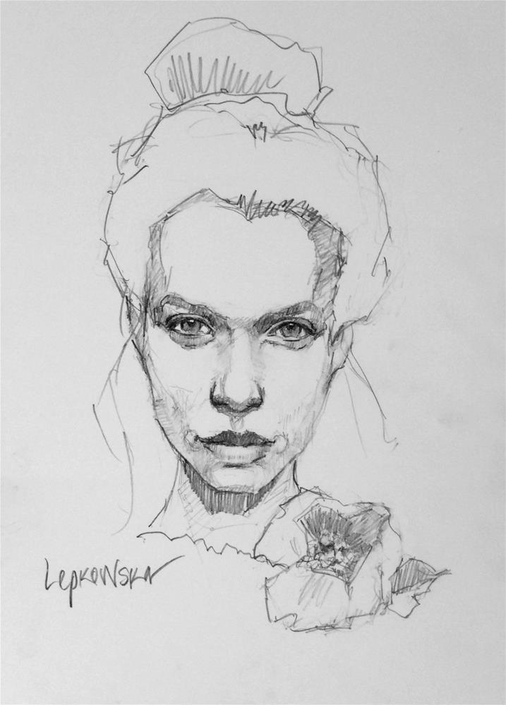 """""""Flower Girl - 3"""" original fine art by Laurie Johnson Lepkowska"""