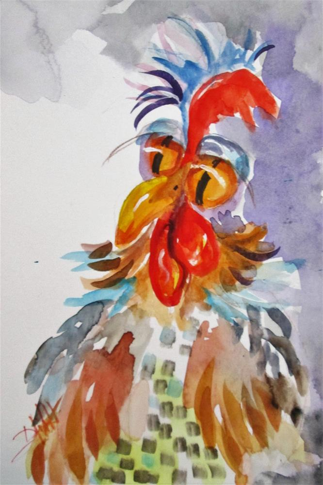 """Big Eyed Rooster"" original fine art by Delilah Smith"