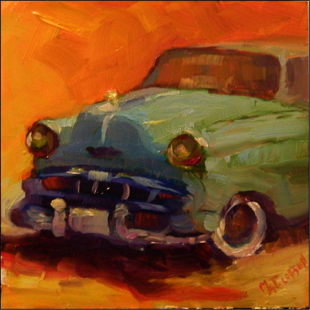 """Dyna Flow, 6x6, oil on gessoboard, paintings of old cars, antique cars, small paintings of car"" original fine art by Maryanne Jacobsen"