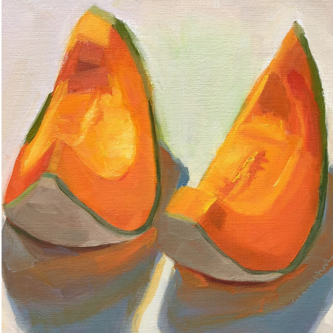"""Cantaloupe Wedges"" original fine art by Robin Rosenthal"
