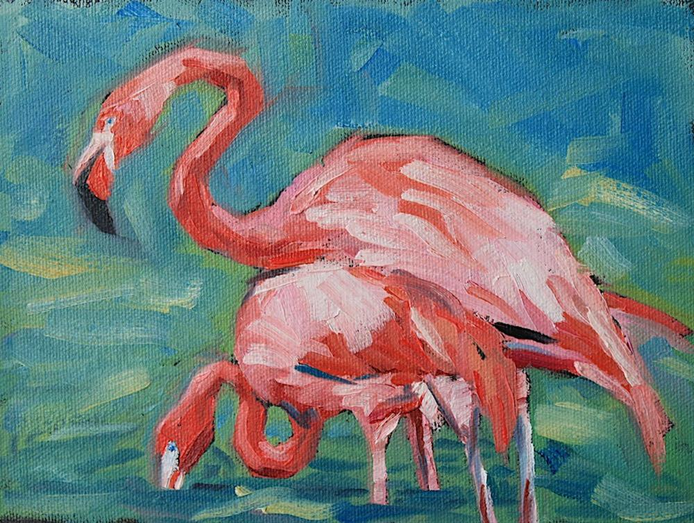 """Pink Flamingo and Baby"" original fine art by Mary Anne Cary"