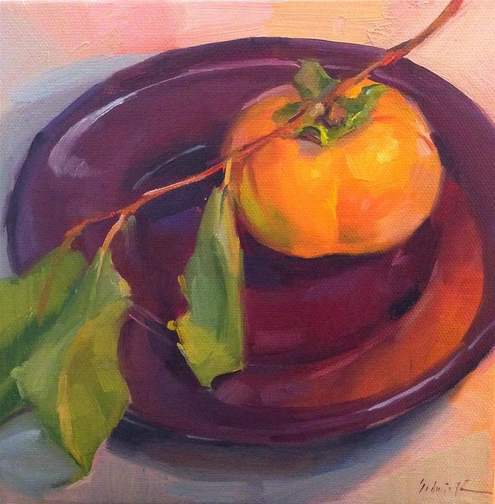 """Persimmon on Purple"" original fine art by Sarah Sedwick"