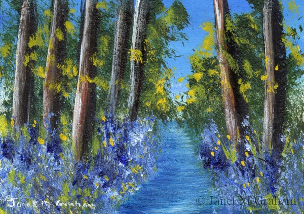 """Bluebell Stream ACEO"" original fine art by Janet Graham"