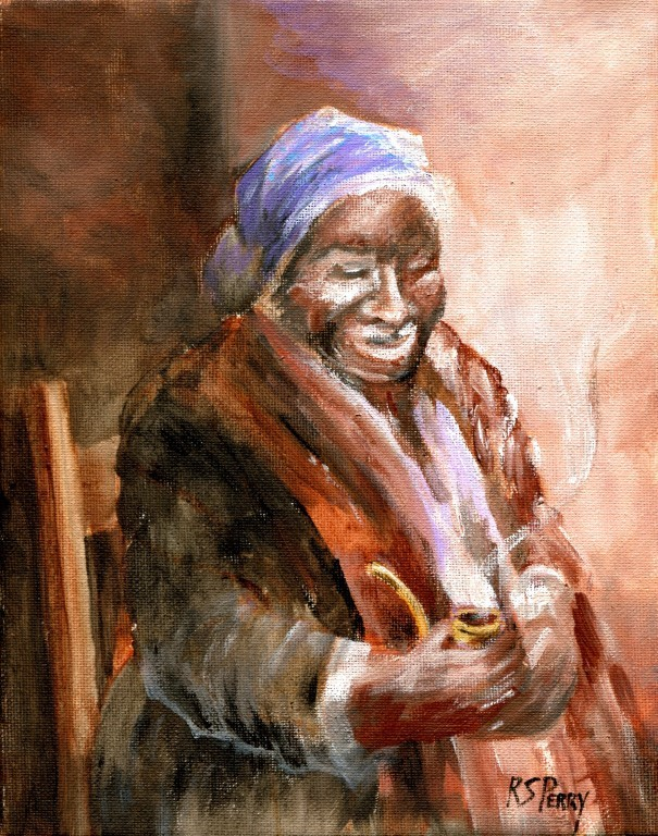 """Maum Celie Smoking a Pipe "" original fine art by R. S. Perry"
