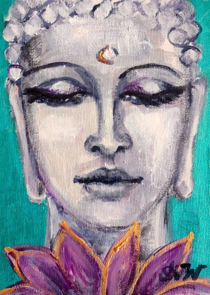 """""""Buddha and lotus"""" original fine art by Sonia von Walter"""