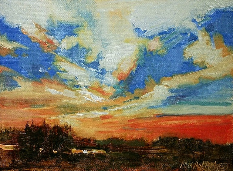 """Coral Sky,"" original fine art by Mary Maxam"