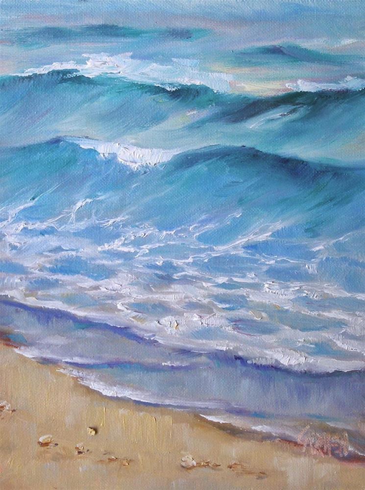 """Fugitive Sea, 6x8 Oil on Canvas Panel"" original fine art by Carmen Beecher"