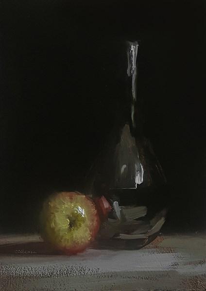 """Apple and Bottle"" original fine art by Neil Carroll"