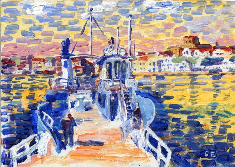 """Ferry, Marstrand, Sweden"" original fine art by Stanley Epperson"