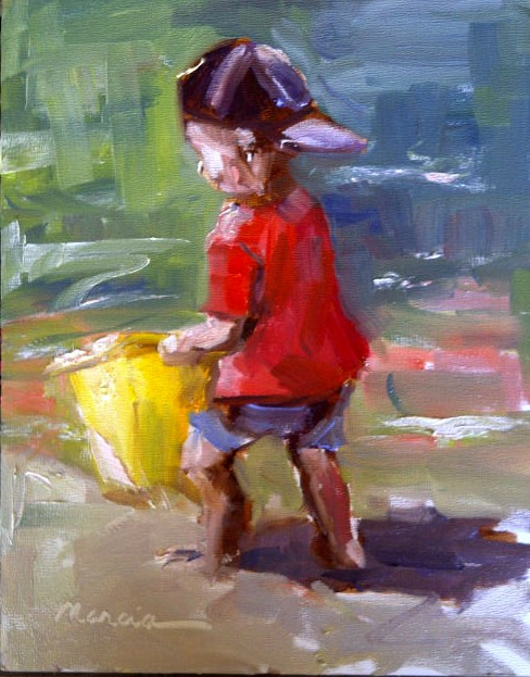 """""""The Yellow Bucket"""" original fine art by Marcia Hodges"""