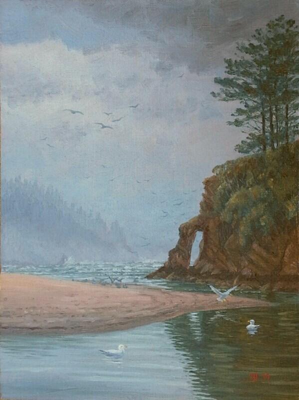 """C1572 Gulls Rising over Neskowin (Oregon Coast)"" original fine art by Steven Thor Johanneson"