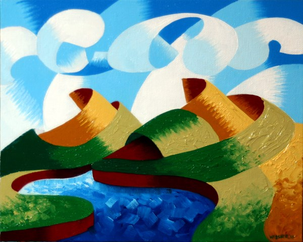 """""""Mark Webster - Rough Futurist Geometric Abstract Landscape Oil Painting"""" original fine art by Mark Webster"""