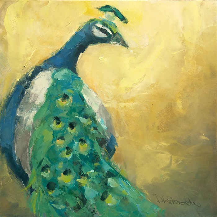 """He's So Vain - Peacock Paintng by Deb Kirkeeide"" original fine art by Deb Kirkeeide"