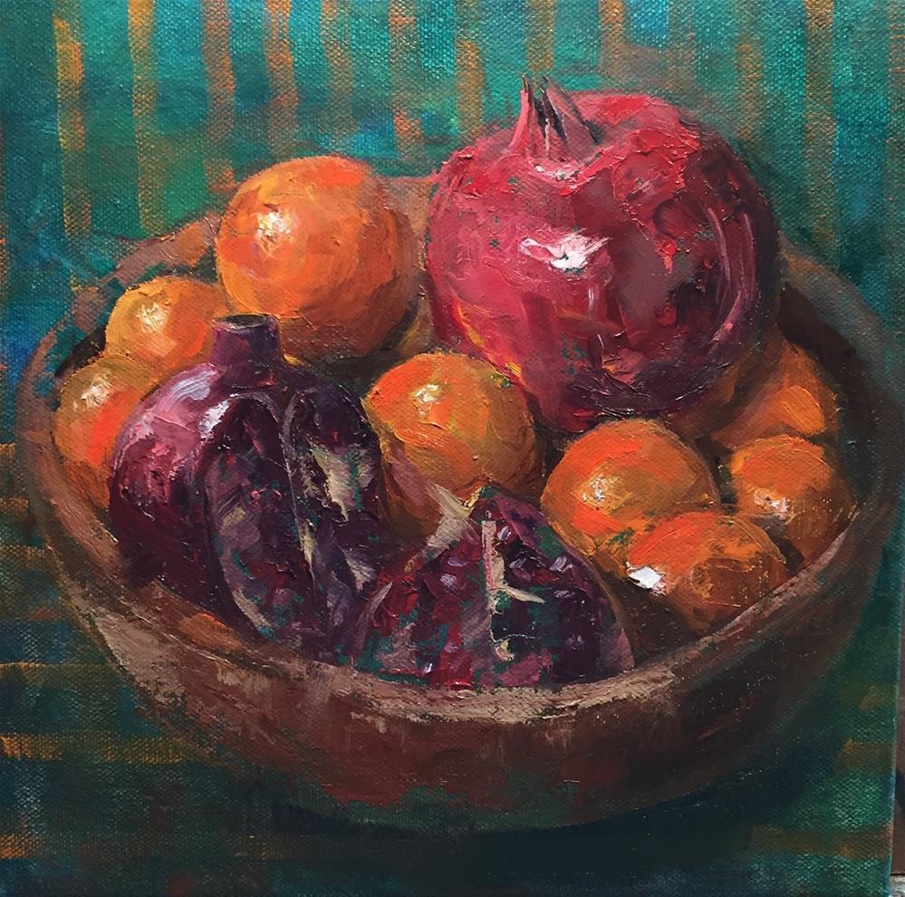 """Oranges and Pom"" original fine art by Barbara Fluty"