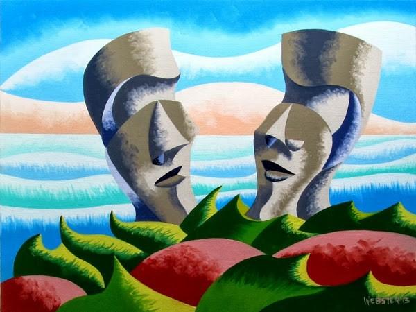 """Mark Webster - Watercooler Moment on Easter Island - Abstract Geometric Futurist Landscape Oil Paint"" original fine art by Mark Webster"