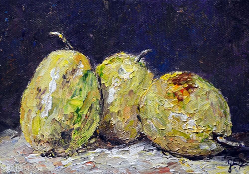 """""""Pear Trio (Charity)"""" original fine art by Gloria Ester"""