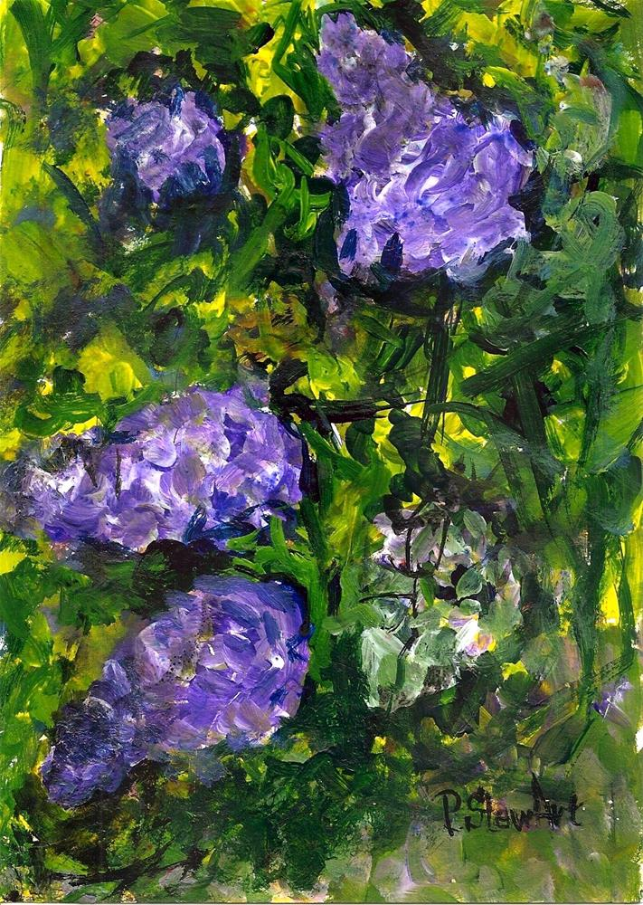"""""""5x7 Wistaria in Bloom Flowers Purple Lavender Acrylic by Penny Lee StewArt"""" original fine art by Penny Lee StewArt"""