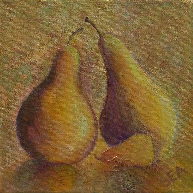 """2020 - Momma, Poppa and Baby Pear - Miniature Masterpiece Series"" original fine art by Sea Dean"