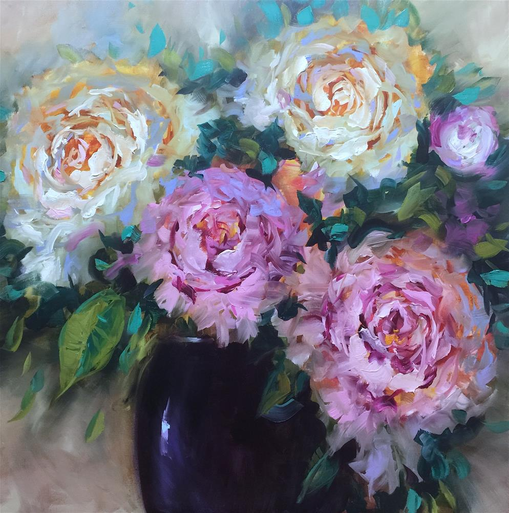 """""""Working With Wax and Oil - Color Flight Peonies"""" original fine art by Nancy Medina"""