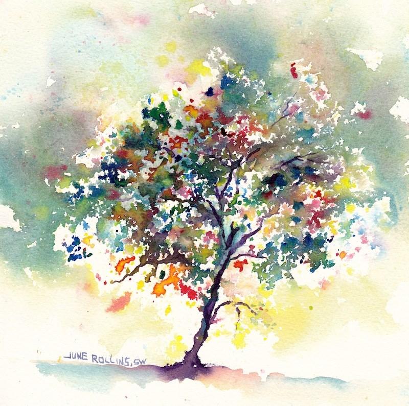 """Moody Triad Tree"" original fine art by June Rollins"