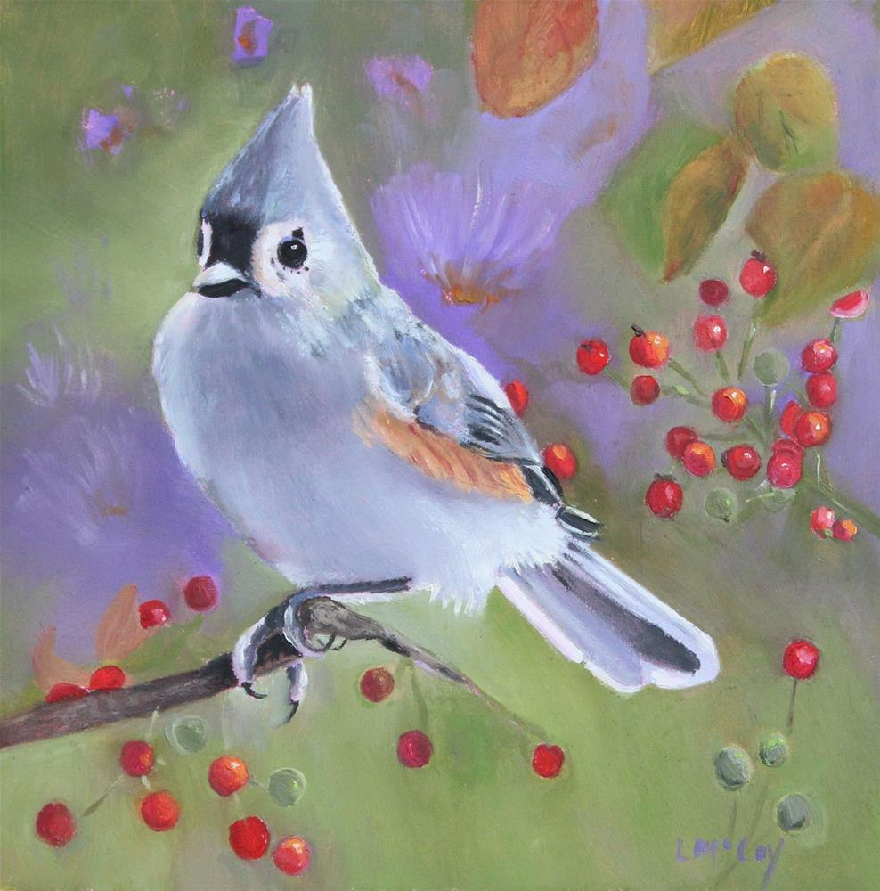 """Tufted Titmouse Bird Painting"" original fine art by Linda McCoy"
