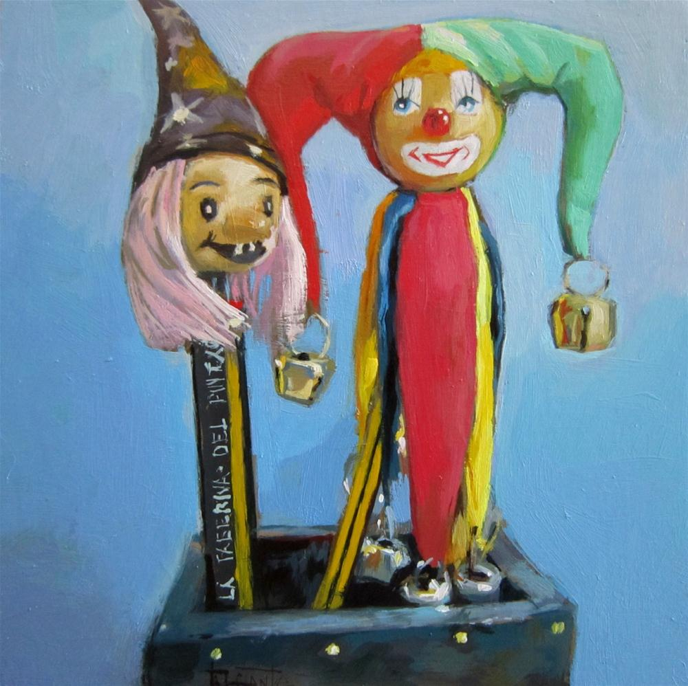"""The clown and the witch"" original fine art by Víctor Tristante"