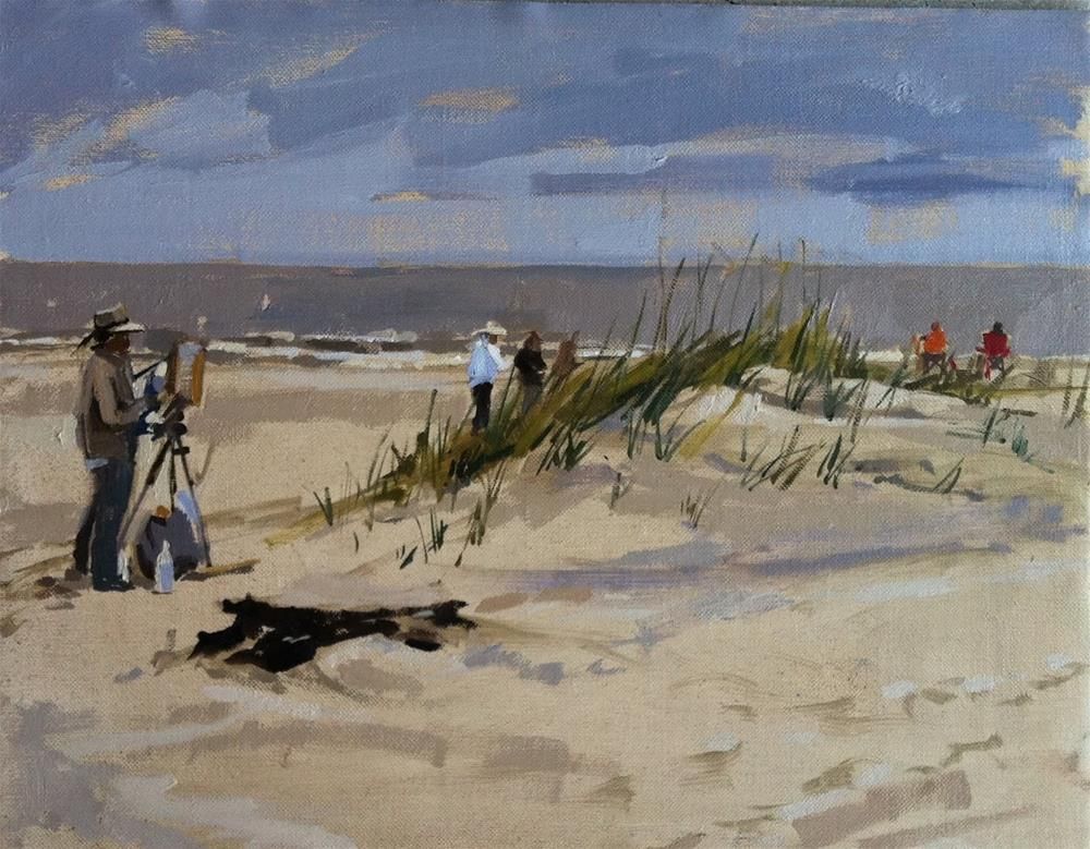"""""""Artists painting on the beach"""" original fine art by Haidee-Jo Summers ROI"""