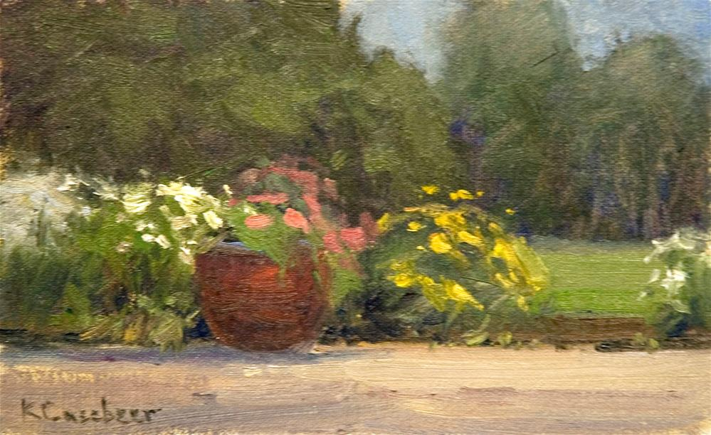 """Patio Flowers"" original fine art by Kim Casebeer"