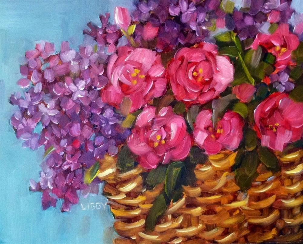 """""""Basketful of Blooms"""" original fine art by Libby Anderson"""
