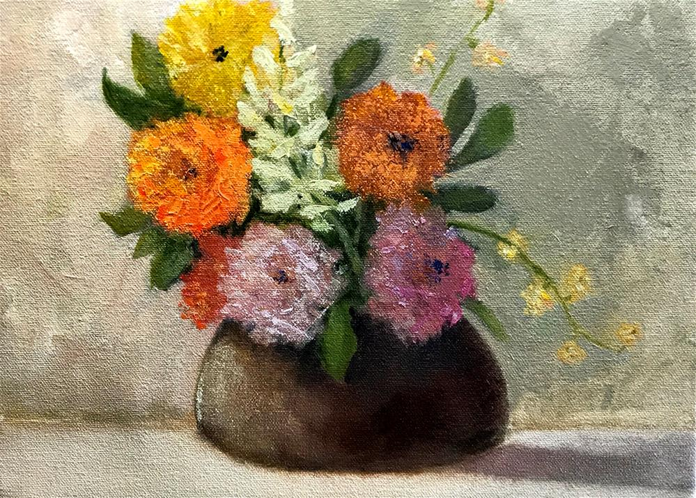 """little brown flower pot"" original fine art by Betty Argiros"