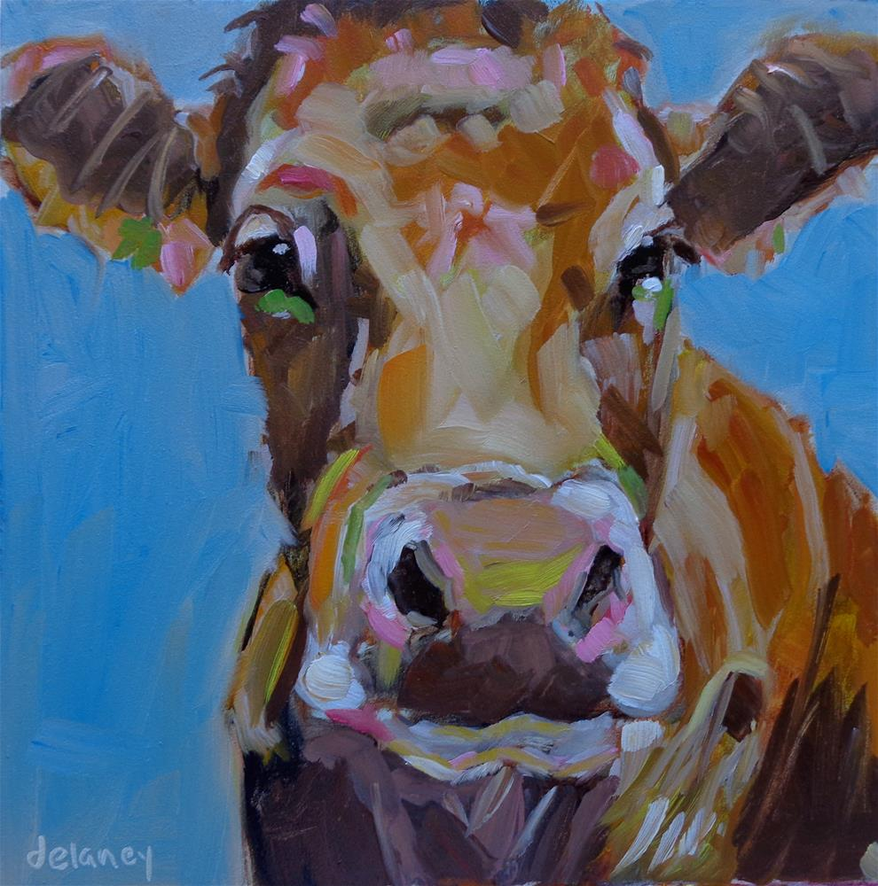 """""""Cow 129 ANOTHER BEAUTIFUL DAY"""" original fine art by Jean Delaney"""