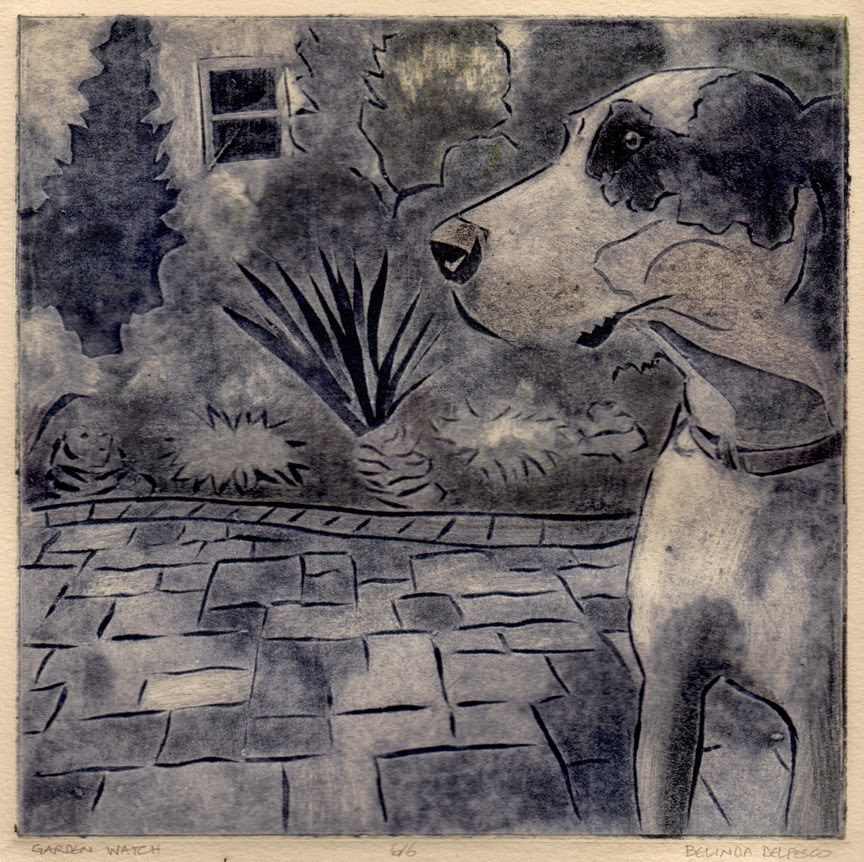 """""""Collagraph: Garden Watch (& a video tutorial on inking this plate in color & black & white)"""" original fine art by Belinda Del Pesco"""