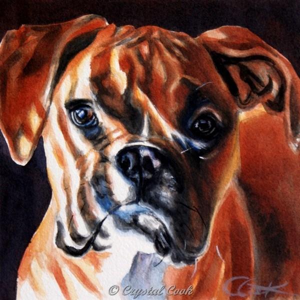 """Puppy Stripes"" original fine art by Crystal Cook"