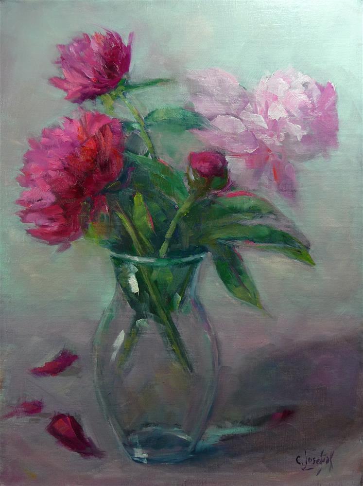 """pink peonies"" original fine art by Carol Josefiak"