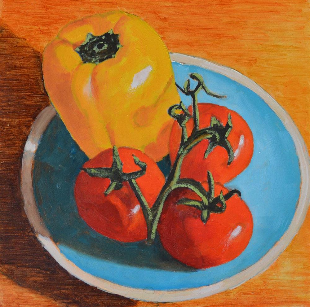 """""""Tomatoes and Peppers"""" original fine art by Robert Frankis"""