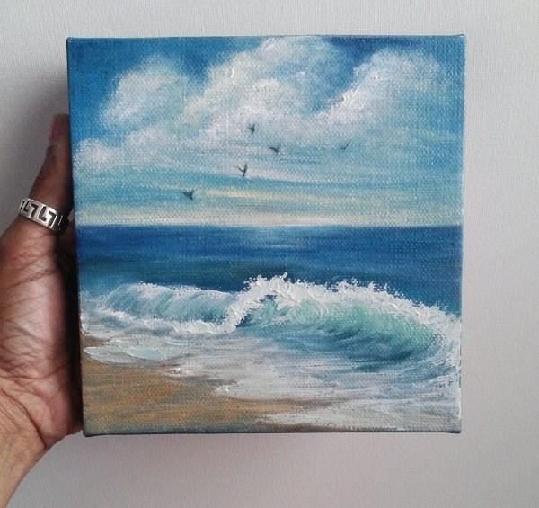 """Beach with Birds"" original fine art by Camille Morgan"