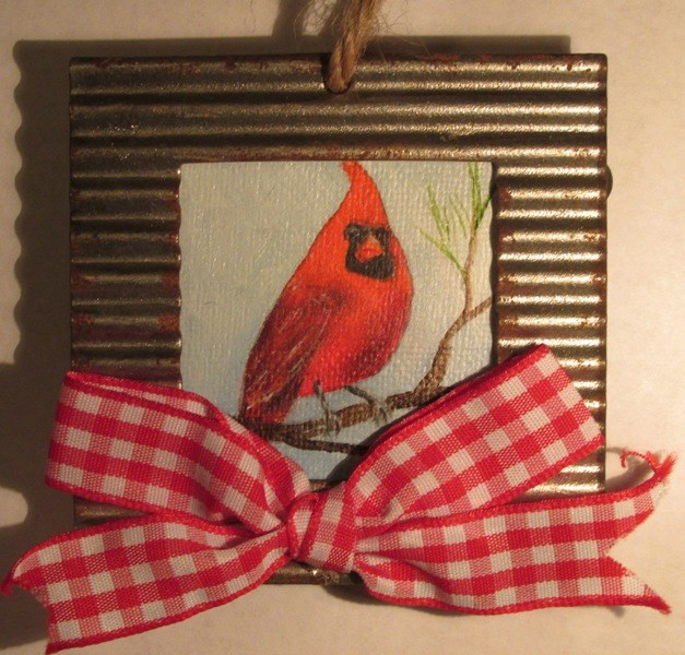 """Cardinal in the Pines 2 Ornament"" original fine art by Ruth Stewart"