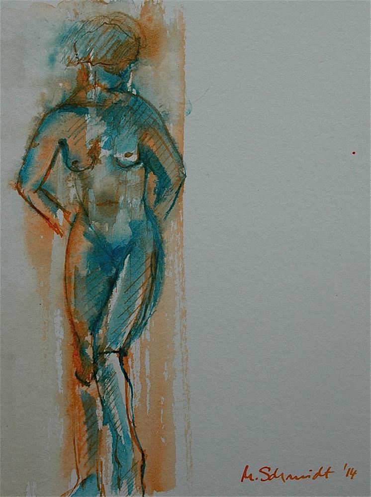 """Leaning against the wall - after Dora Maar"" original fine art by Ulrike Schmidt"