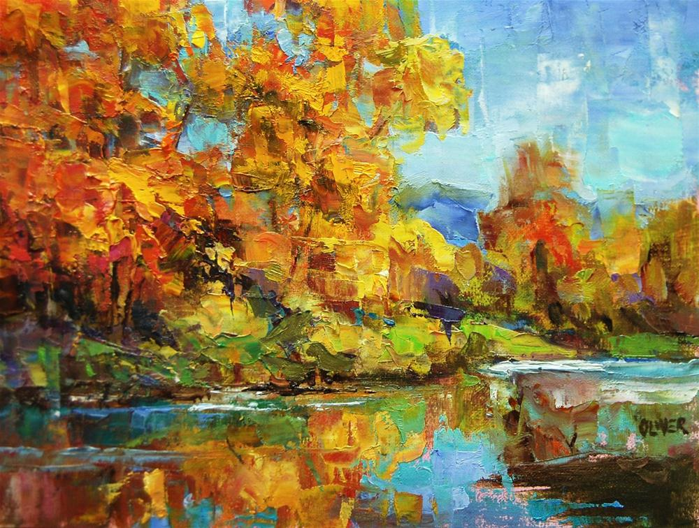 """""""Fall Colors Along the River"""" original fine art by Julie Ford Oliver"""