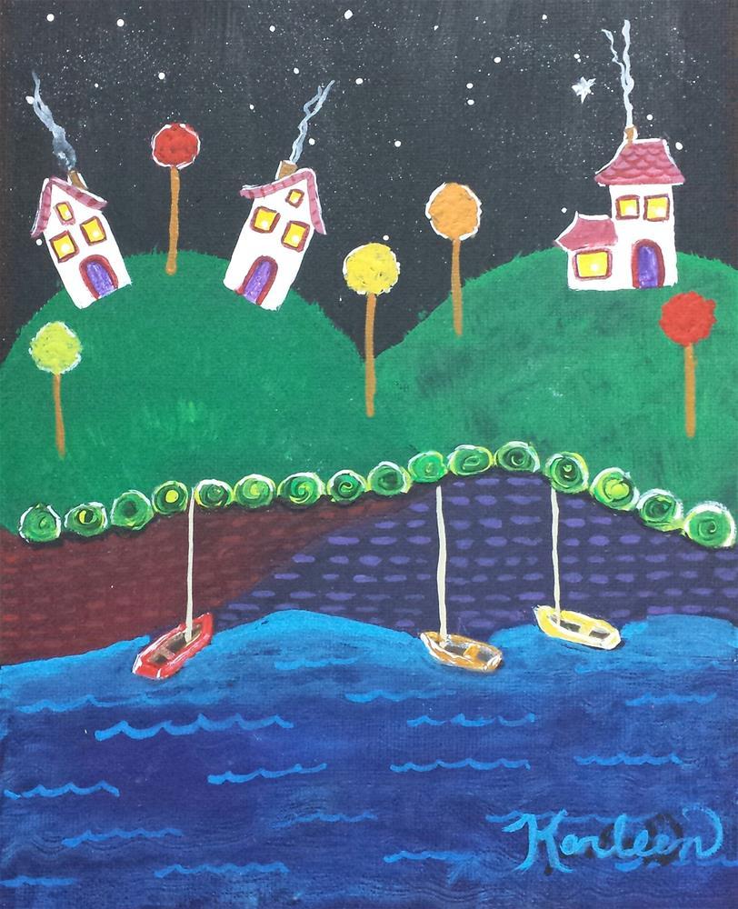 """""""Midnight in the Village"""" original fine art by Karleen Kareem"""