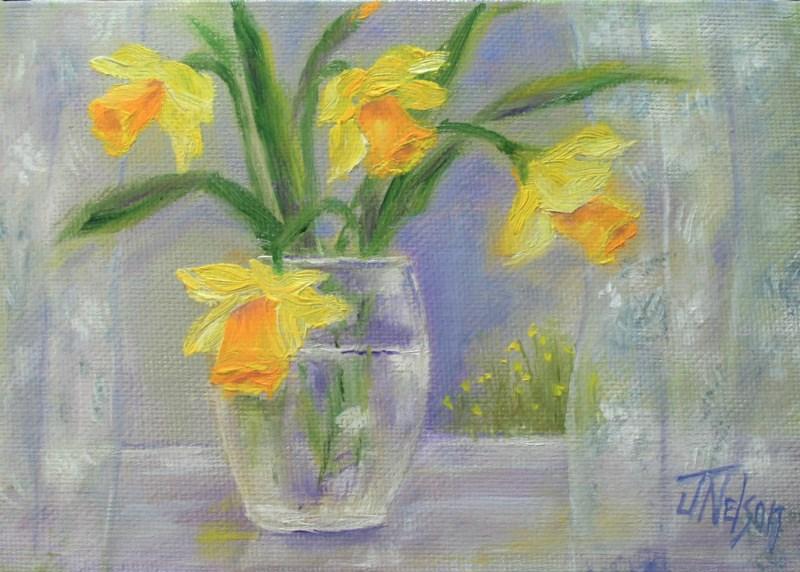 """Daffodils on Windowsill"" original fine art by Jean Nelson"