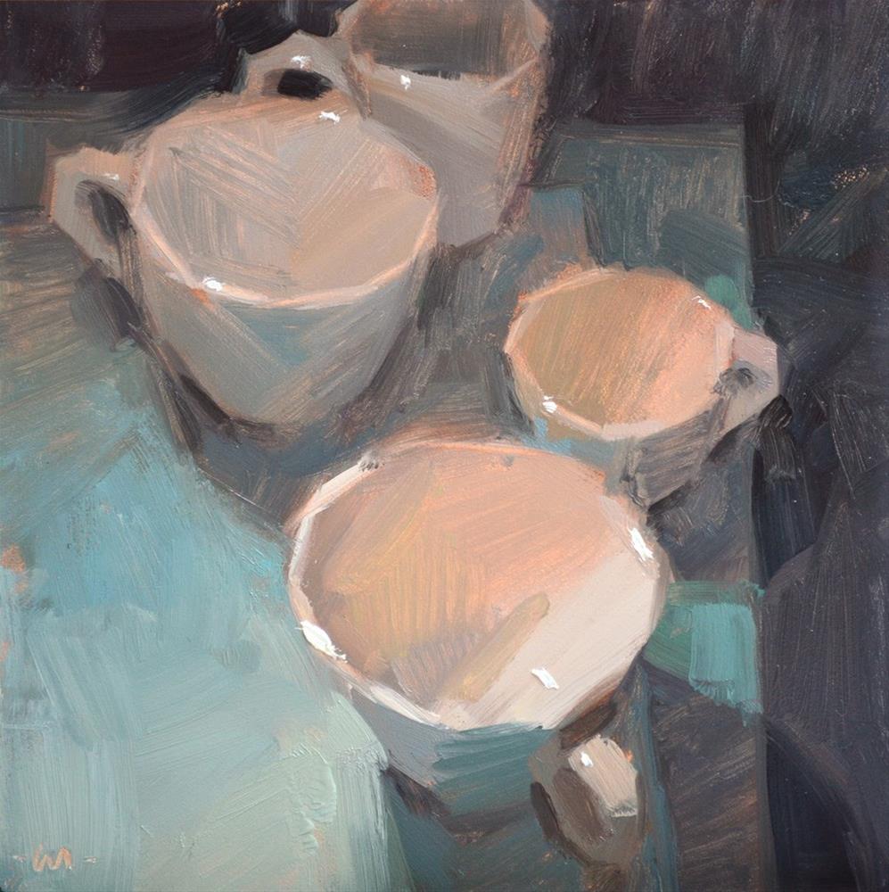 """""""Cups on Blue"""" original fine art by Carol Marine"""