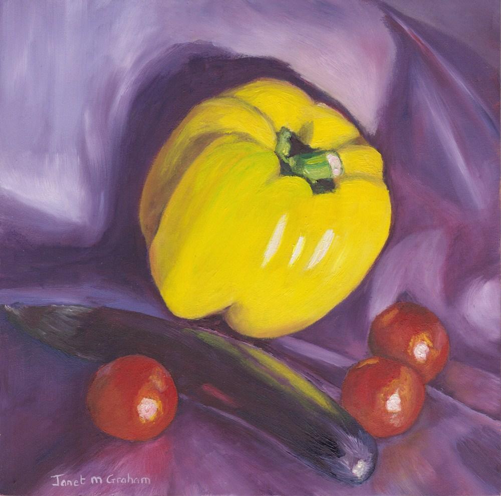 """Vegetable Still Life 1"" original fine art by Janet Graham"