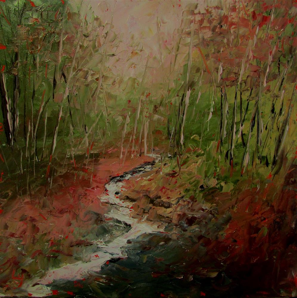 """8 x 8 inch oil Stream"" original fine art by Linda Yurgensen"