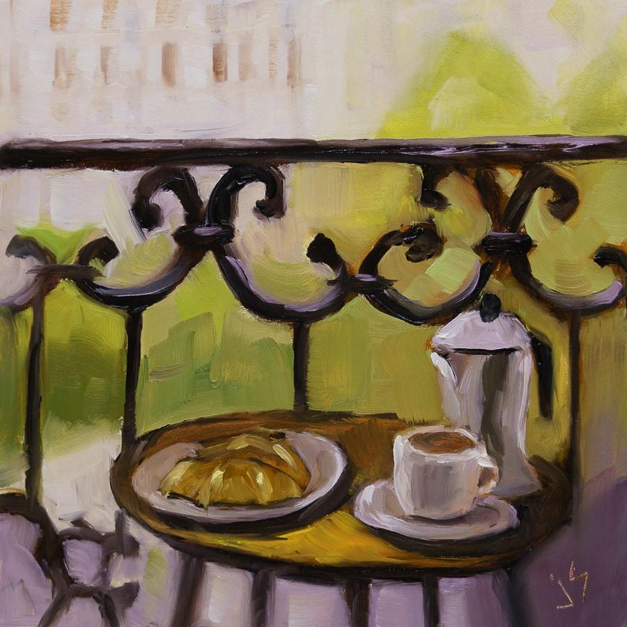 """""""Parisian Breakfast"""" original fine art by Johnna Schelling"""
